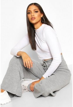 Grey Tall Knitted Wide Leg Trousers