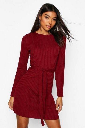 Womens Berry Tall Belted Rib Knit Dress