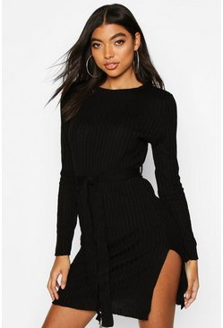 Black Tall Belted Rib Knit Dress