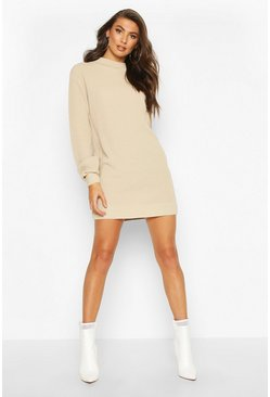Stone Tall Balloon Sleeve Jumper Dress