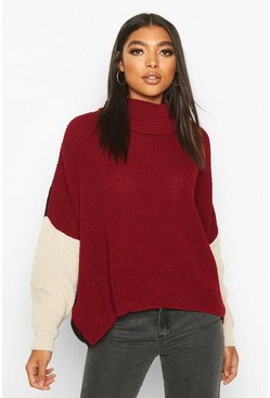 Womens Wine Tall Roll Neck Colour Block Jumper