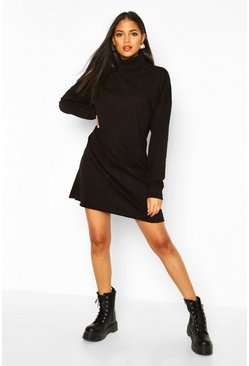 Womens Black Tall Roll Neck Sweat Dress