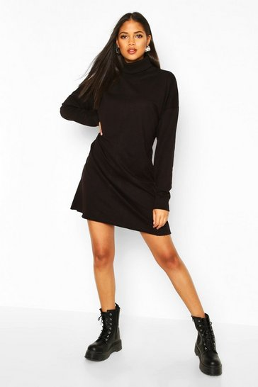 Black Tall Roll Neck Sweat Dress
