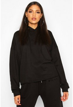 Womens Black Tall Roll Hem Hoody