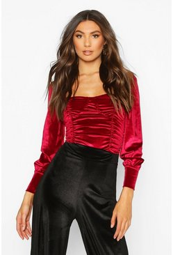 Womens Berry Tall Velvet Ruched Puff Sleeve Bodysuit
