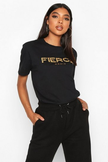 Black Tall Leopard Print 'Fierce' Slogan T-Shirt