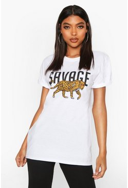 Womens White Tall 'Savage' Leopard Slogan T-Shirt