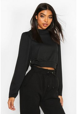 Womens Black Tall Puff Sleeve Sweat