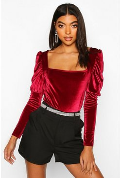 Womens Berry Tall Puff Sleeve Velvet Bodysuit