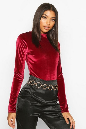 Berry Tall High Neck Velvet Bodysuit