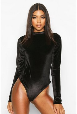 Black Tall High Neck Velvet Bodysuit