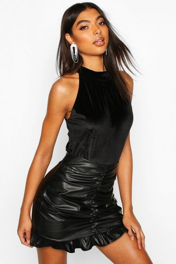 Black Tall Ruched High Neck Velvet Bodysuit