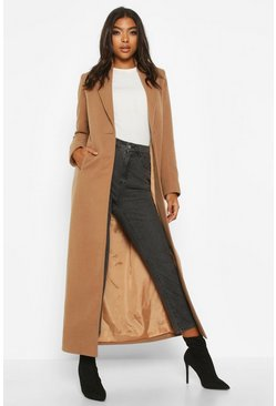 Camel Tall Full Length Wool Look Coat