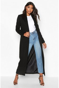 Womens Black Tall Full Length Wool Look Coat