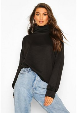 Womens Black Tall High Neck Sweat