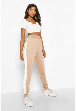 Womens Stone Tall Contrast Panel Joggers