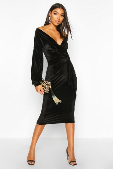 Black Tall Velvet Off The Shoulder Midi Dress