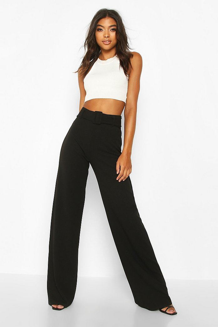 Tall Basic Belted Wide Leg Trousers | boohoo