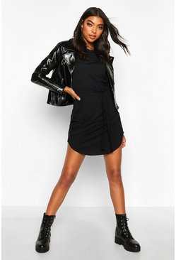 Womens Black Tall Belted Rib T-Shirt Dress
