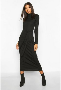 Womens Black Tall High Neck Belted Rib Midi Dress