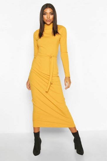 Mustard Tall High Neck Belted Rib Midi Dress