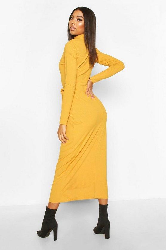 Tall High Neck Belted Rib Midi Dress