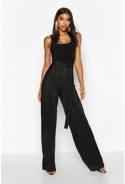 Black Tall Plissé Belted Wide Leg Trousers