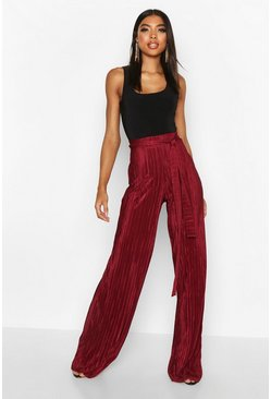 Wine Tall Plissé Belted Wide Leg Trousers
