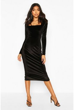 Black Tall Velvet Bodycon Midi Dress