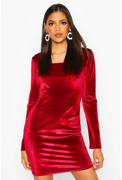 Womens Berry Tall Velvet Bodycon Mini Dress