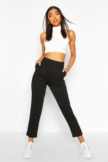 Black Tall Pleated Ankle Grazer Tapered Trousers