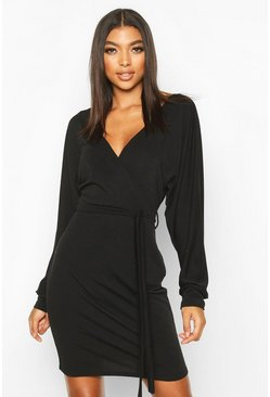 Black Tall Belted Batwing Sweat Dress