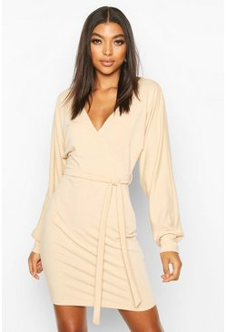 Stone Tall Belted Batwing Sweat Dress