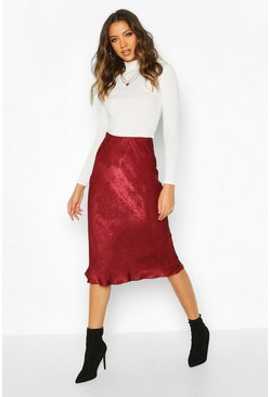 Berry Tall Bias Cut Satin Midaxi Skirt