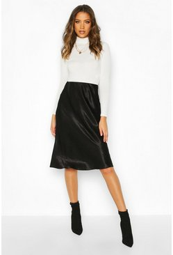 Black Tall Bias Cut Satin Midaxi Skirt