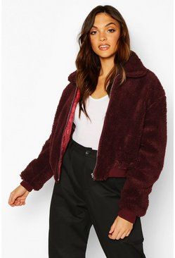 Womens Berry Tall Crop Faux Fur Teddy Bomber
