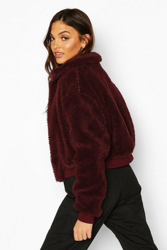 Tall Crop Faux Fur Teddy Bomber