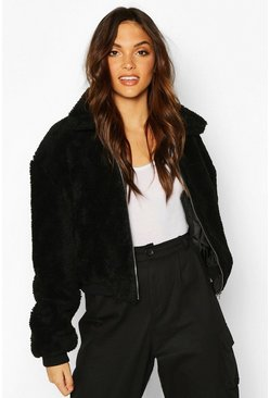 Womens Black Tall Crop Faux Fur Teddy Bomber