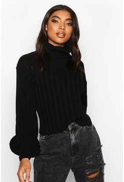 Womens Black Tall Balloon Sleeve Rib Roll Neck Jumper