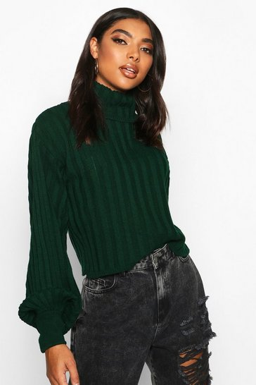 Bottle Tall Balloon Sleeve Rib Roll Neck Jumper