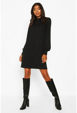 Womens Black Tall Ribbed High Neck Dress