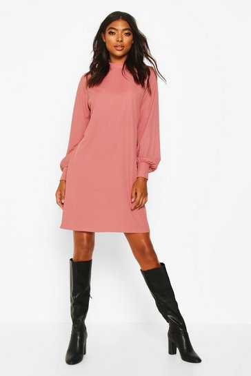 Rose Tall Ribbed High Neck Dress