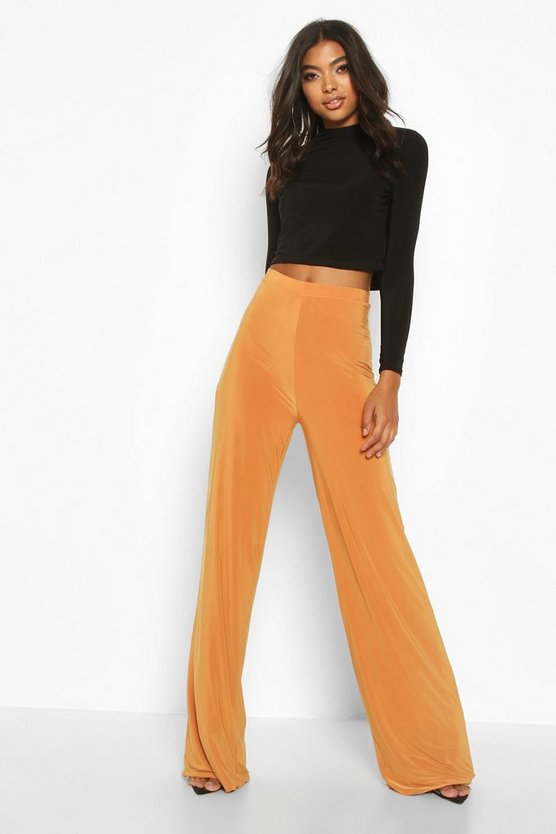 Mustard Tall Ruched Bum Double Layer Wide Leg Trousers