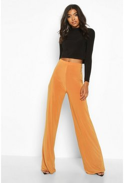 Womens Mustard Tall Ruched Bum Double Layer Wide Leg Trousers