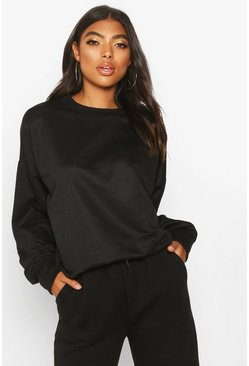 Womens Black Tall Balloon Sleeve Sweat