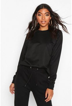 Womens Black Tall Basic Sweat