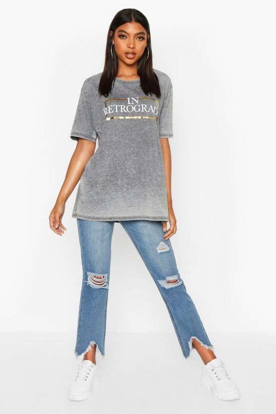Womens Charcoal Tall 'In Retrograde' Foil Acid Wash Slogan T-Shirt