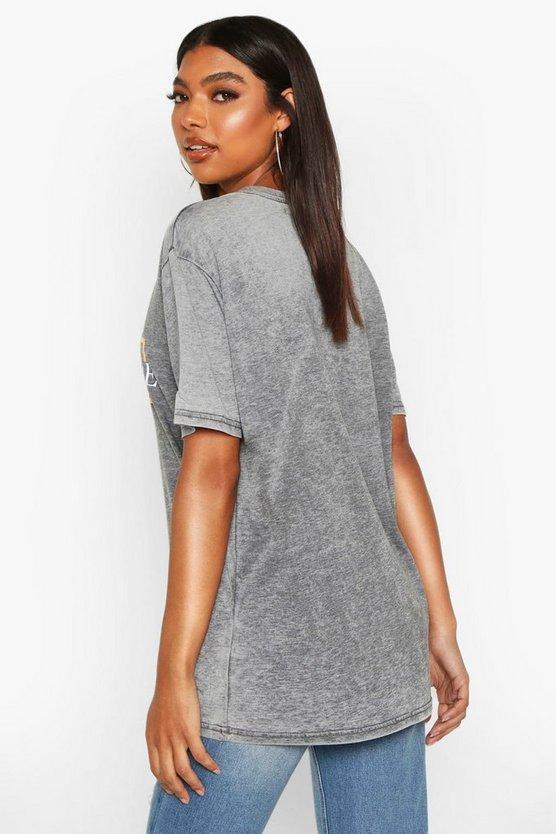 Tall 'In Retrograde' Foil Acid Wash Slogan T-Shirt