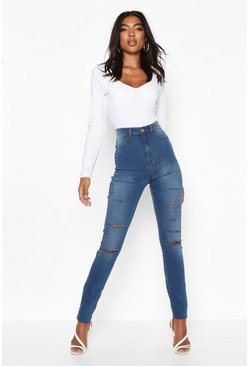 Womens Blue Tall Slash Rip Jeggings