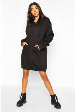 Womens Black Tall Hooded Sweat Dress